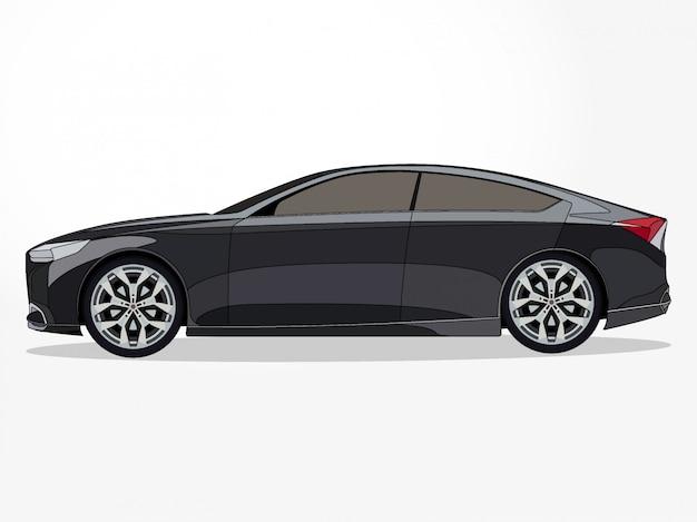 Corps détaillé et jantes d'une illustration de dessin animé de voiture couleur plat avec effet de trait et d'ombre noir