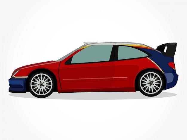 Corps détaillé et jantes d'une illustration vectorielle de voiture dessin animé