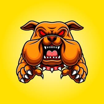 Corps de mascotte bulldog en colère avec pattes et griffes
