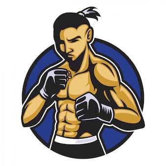 Corps musculaire du combattant de boxe