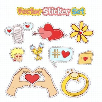 Correctifs d'autocollant saint valentin dans le style doodle illustration vectorielle