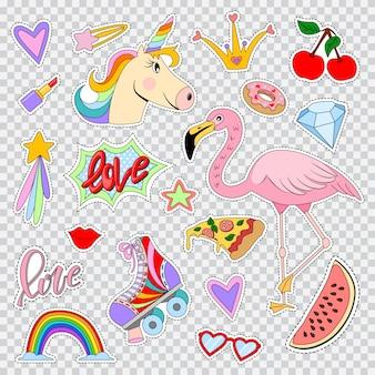 Correctifs de mode et des autocollants avec licorne, flamants roses, arc-en-ciel, lèvre, rouge à lèvres, patins à roulettes, étoiles, coeurs, etc. jeu d'icônes comiques de dessin animé de vecteur isolés