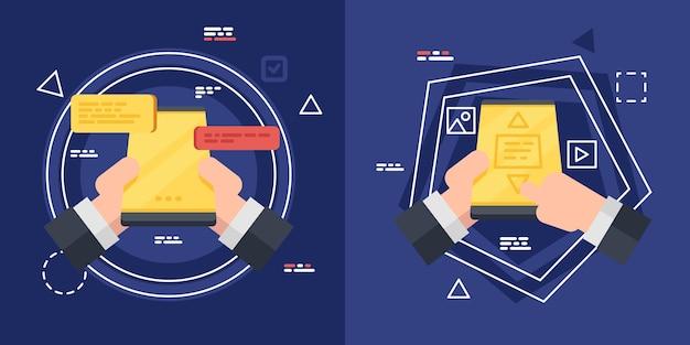 Correspondance sur l'écran du smartphone, homme d'affaires main tenant le téléphone.