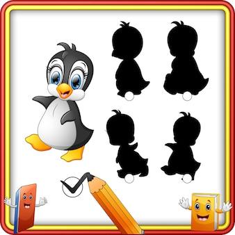 Correspondance d'ombre du jeu de pingouin