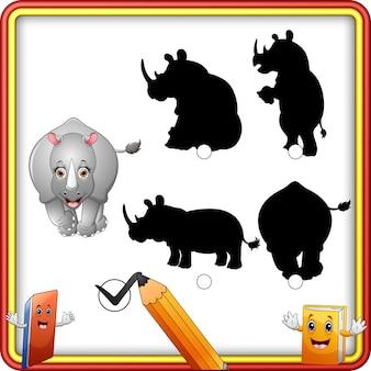 Correspondance d'ombre du jeu de rhinocéros