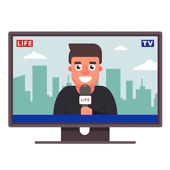 Un correspondant de télévision raconte la nouvelle. journaliste joyeux. plat