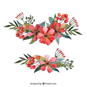 Corsages rouges dans le style peint à la main