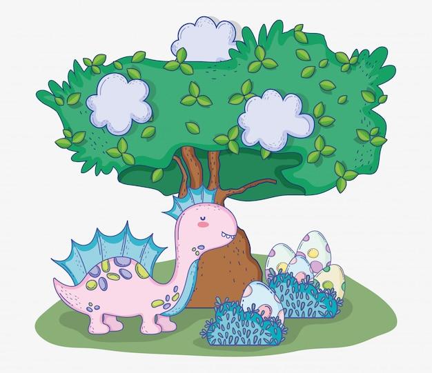 Corythosaurus animal avec des œufs de dinosaures dans les buissons