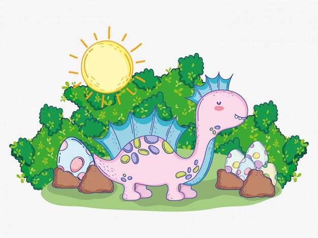 Corythosaurus mignon avec des oeufs de dino et des buissons avec le soleil