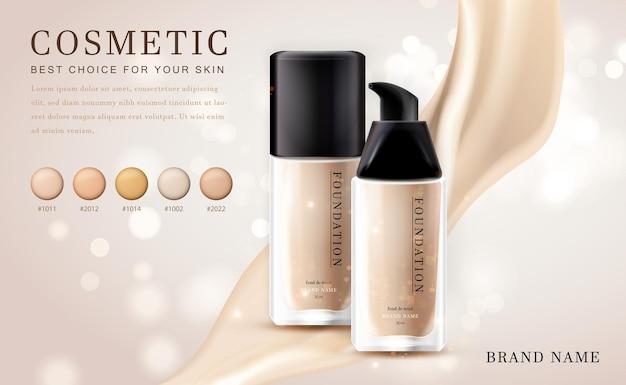 Cosmétique 3d maquillage bouteille de produit de base illustration avec élégant brillant crémeux