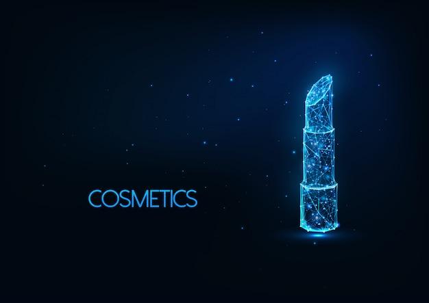 Cosmétique futuriste illustratation avec rouge à lèvres polygonal brillant