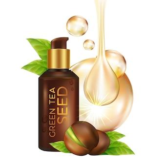 Cosmétique d'illustration réaliste avec des ingrédients cosmétique de soins de la peau à l'huile de graines de thé vert