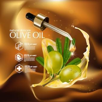 Cosmétique d'illustration réaliste avec des ingrédients cosmétiques de soin de la peau à l'huile d'olive