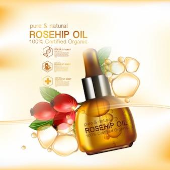 Cosmétique d'illustration réaliste avec des ingrédients cosmétiques de soin de la peau à l'huile de rose musquée