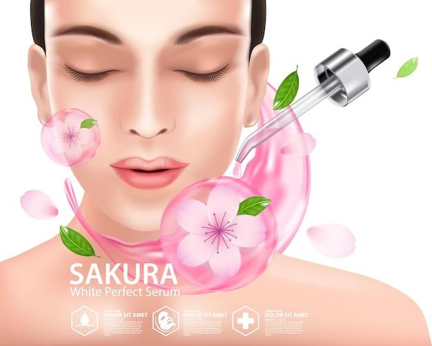Cosmétique d'illustration réaliste avec des ingrédients cosmétiques de soins de la peau sakura cherry blossoms