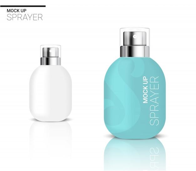 Cosmétique ou lotion 3d réaliste de bouteille de jet vide pour l'emballage de produit de skincare avec le bleu et le chapeau