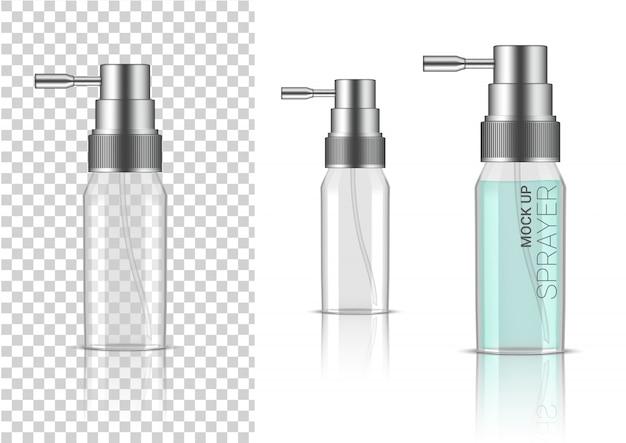 Cosmétique ou lotion de bouteille transparente 3d réaliste de jet pour l'emballage de produit de skincare avec le chapeau argenté
