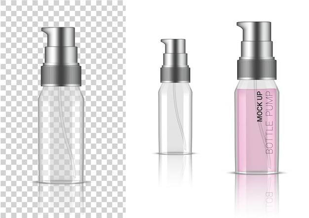 Cosmétique ou lotion de pompe de bouteille transparente réaliste 3d pour l'emballage de produit de skincare avec le chapeau argenté