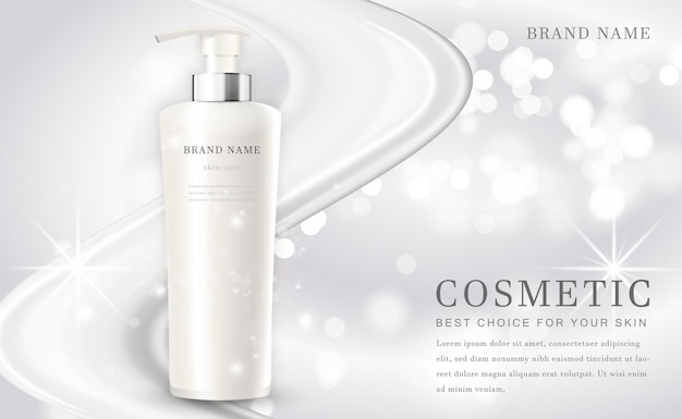 Cosmétique maquillage bouteille de produit illustration avec élégant fond blanc brillant
