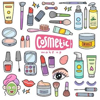 Cosmétique et maquillage des éléments graphiques vectoriels colorés et illustrations de griffonnage