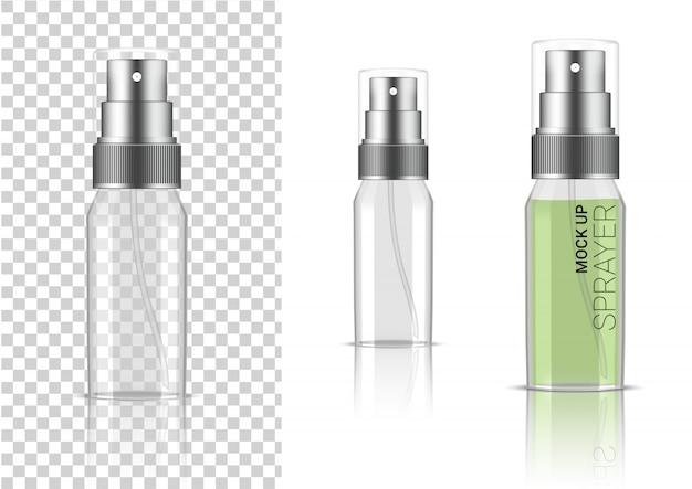 Cosmétique réaliste de bouteille de jet transparent