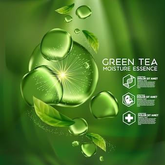 Cosmétique de soin de peau d'essence d'humidité de thé vert.