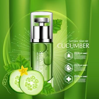 Cosmétique de soin de peau d'humidité naturelle de concombre.