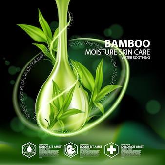Cosmétique De Soins De La Peau Aux Plantes Réalistes En Bambou Vecteur Premium