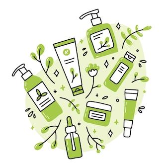Cosmétiques bio naturels écologiques dans le style doodle
