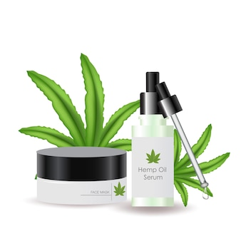 Cosmétiques à l'huile de chanvre vecteur réaliste feuilles de cannabis médecine alternative