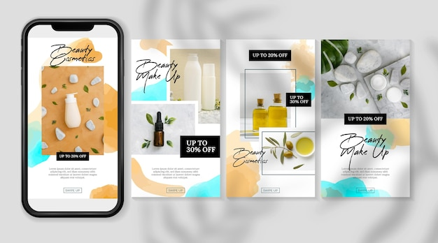 Cosmétiques instagram stories produits et huiles
