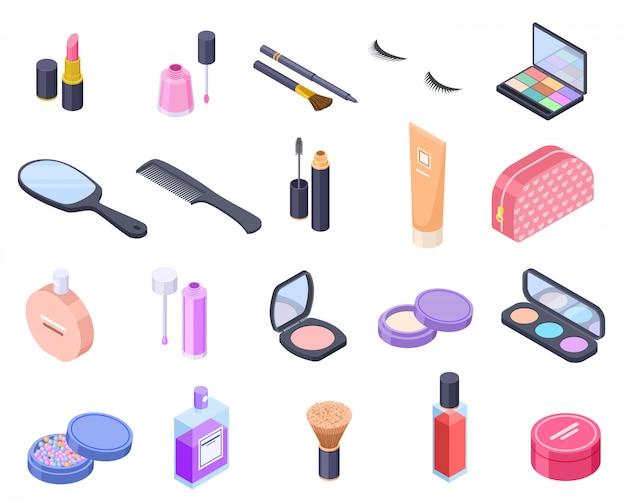 Cosmétiques isométriques. bouteille de produit cosmétique fard à paupières pinceau fard à joues poudre mascara maquillage parfum pack baume. beauté