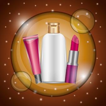 Cosmétiques maquillage rouge à lèvres brillant lotion bulle flou or
