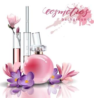 Cosmétiques naturels. parfum. extrait de fleur in vitro.cosmétique naturelle. flacon rose parfum femme. extrait de fleur in vitro. . modèle vectoriel