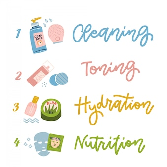 Cosmétiques pour le traitement du visage, quatre étapes de soins de la peau.
