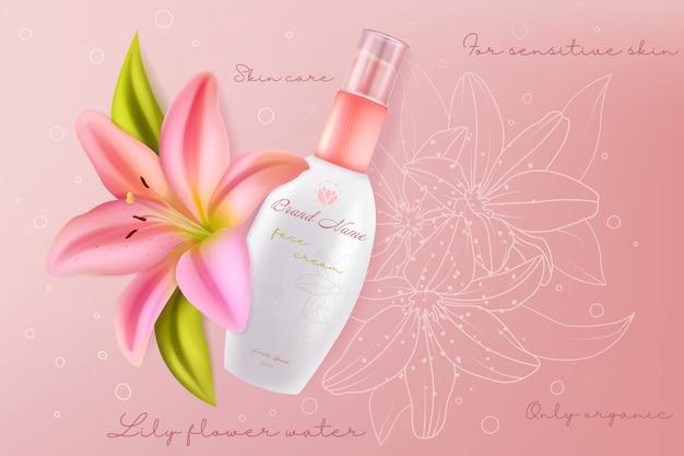 Cosmétiques pour le visage de lily pour l'illustration de la beauté de la peau sensible du visage. crème de soin du visage avec de belles fleurs de lys rose ingrédient dans une bouteille d'emballage réaliste, fond de cosmétologie de soins de santé