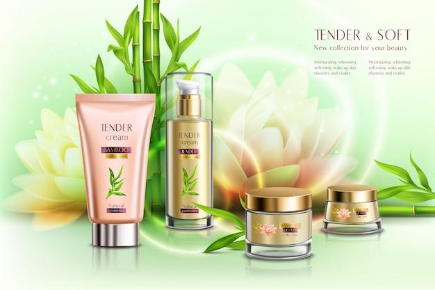 Cosmétiques publicité adoucissement de la peau jour nuit crème hydratante distributeur tube pots fleur de lotus composition réaliste