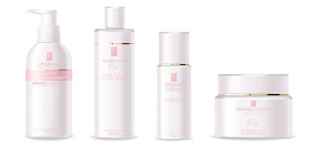 Cosmétiques réalistes, design rose, ensemble de bouteilles blanches, emballage, cosmétiques de soin de la peau, crème hydratante, toner, nettoyant, carte de beauté, soin du visage