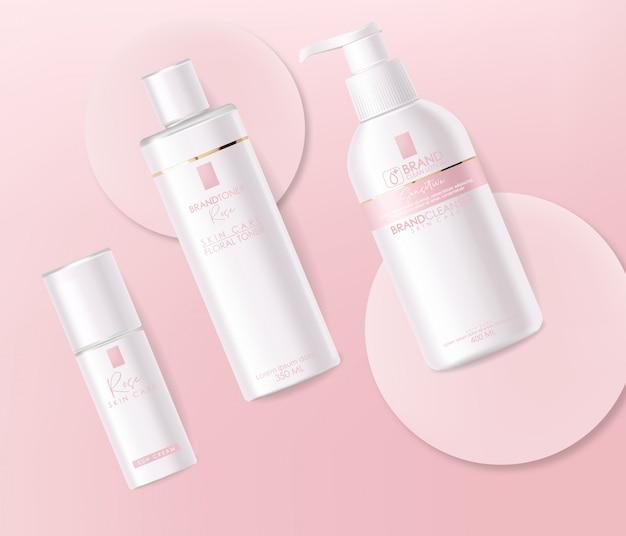 Cosmétiques réalistes, design rose, ensemble de bouteilles blanches, maquette d'emballage, soins de la peau, crème, toner, nettoyant, sérum, carte de beauté, traitement du visage, conteneur isolé fond rose 3d
