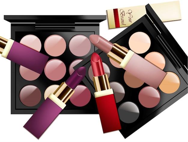 Cosmétiques réalistes sur fond blanc. ombres à paupières, rouges à lèvres. collection de couleurs pastel nues. emballage cosmétique, publicité, maquette