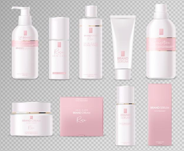 Cosmétiques réalistes, rose, ensemble de bouteilles blanches, emballage, soins de la peau, crème d'hydratation, toner, nettoyant, sérum, carte de beauté, traitement du visage, fond blanc de récipient isolé
