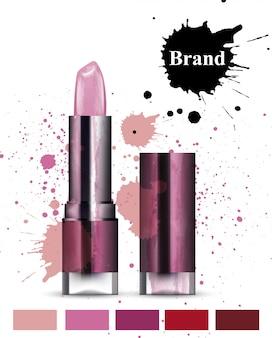 Cosmétiques de rouge à lèvres aquarelle