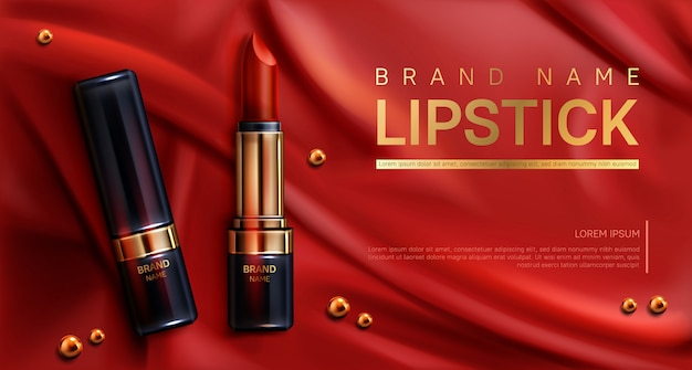 Les cosmétiques de rouge à lèvres composent la bannière de produits de beauté