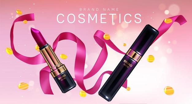 Cosmétiques de rouge à lèvres maquillage avec des confettis