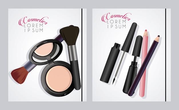 Cosmétiques de texte et de maquillage