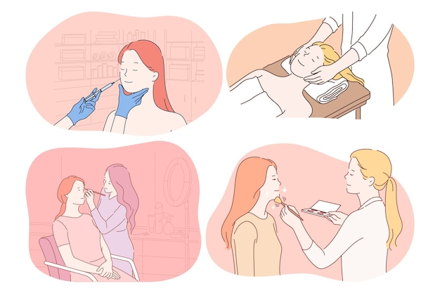 Cosmétologie, dermatologie, maquillage, massage, concept de soins de la peau. personnages de dessins animés de jeunes femmes