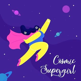 Cosmic supergirl flat concept de bannière de médias sociaux