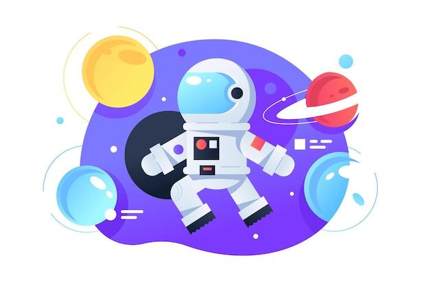 Cosmonaute dans l'illustration de l'espace. style plat de planètes lumineuses colorées. galaxie et aventure. l'astronaute flotte dans l'espace. voyage sur la lune. caractère spaceman. isolé
