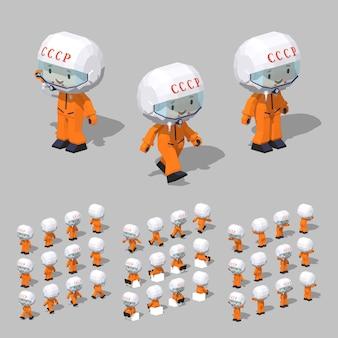 Cosmonaute isométrique 3d lowpoly soviétique