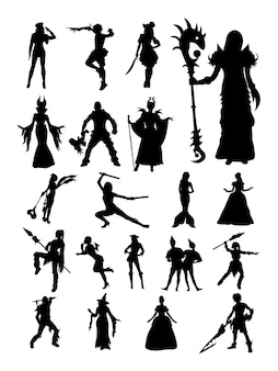 Cosplay pose silhouette